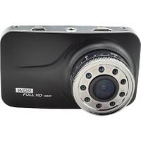 Novatek 3 inç LCD Ekran Novatek NT69 9 Adet Kızıl Ötesi IR LED Aydınlatmalı Tek Yön Türkçe Menü 20 MP Full HD 1080P 170 Derece Geniş Açı Gece Görüşlü DVR Siyah Metal Kasa Araç İçi Kamera