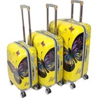 Laguna 255 Sarı Kelebek 3lü Valiz Bavul Seti