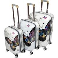 Laguna 255 Beyaz Kelebek 3lü Valiz Bavul Seti