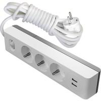 Visage 2 USB Çıkışlı 3 lü Grup Priz Topraklı Anahtarlı 3 mt