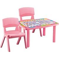 Hepsi Dahice Çocuk Masası Desenli 70*100 2 Adet Jumbo Sandalye Hediyeli Kız