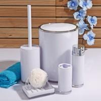 Kosova Akrilik Kovalı 5 Parça Banyo Seti Beyaz