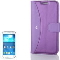 Gpack Samsung Galaxy S3 Kılıf Standlı Mmc Deri Cüzdan Mor +Kırılmaz Cam