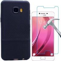KılıfShop Samsung Galaxy C7 Matrix Silikon Kılıf + Kırılmaz Ekran Koruyucu