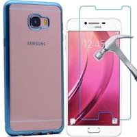 KılıfShop Samsung Galaxy C7 Lazer Kesim Silikon Kılıf + Kırılmaz Ekran Koruyucu