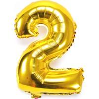 """Cin 16"""" 40 cm. 2 Rakamı Altın Rengi Folyo Balon cin84-2"""