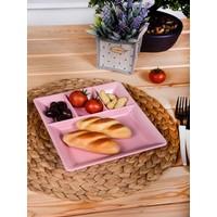 Keramika 1 Adet 4 Bölmeli Kahvaltı Tabağı Pembe