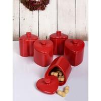 Keramika 10 Parca 8 Cm Kırmızı Kalp Baharatlık