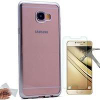 Teknoarea Samsung Galaxy C7 Lazer Kesimli Silikon Kılıf + Kırılmaz Cam