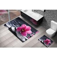 Cici Halı Gri Taşlar Ve Açık Pembe Orkide Çiçeği, 3 Boyutlu Klozet Takımı / Banyo Halısı