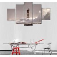 5 Parça Deniz Feneri ve Dalgalar Kanvas Tablo