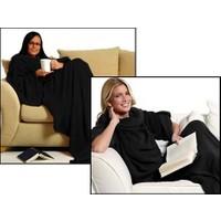 Toptancı Kapında Giyilebilir Kollu Battaniye - Siyah