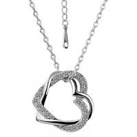 A-Leaf Çift Kalp Kolye Gümüş Kaplama Avusturma Kristali Elmas Kesimli Sevgili Kolyesi