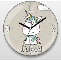 Üşüyen Unicorn Duvar Saati