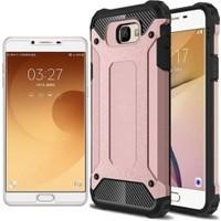 Case 4U Samsung Galaxy C9 Pro Kılıf Çift Katmanlı Tank Kapak Rose Gold + Cam Ekran Koruyucu