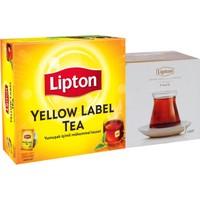 Lipton Yellow Label Demlik Poşet Çay 100'lü + Defne Koz Bardak