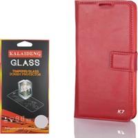 Gpack LG K7 Kılıf Standlı Serenity Cüzdan +Kırılmaz Cam