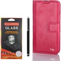 Gpack LG L90 Kılıf Standlı Serenity Cüzdan +Kalem +Kırılmaz Cam
