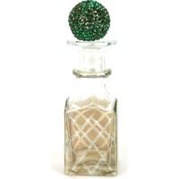 Dekoratif Mini Şişe, Baklava Kesme, Yeşil Taşlı Kapaklı