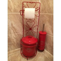 Evistro Ferforje Tuvalet Kağıdı Askısı Tuvalet Fırçası ve Çöp Kovası Seti Kırmızı