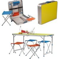 Redex Katlanır Piknik/Kamp Masası Seti Çanta Tipi (4 Taburesiyle Birlikte)