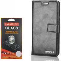 Gpack Asus Zenfone 5 Kılıf Standlı Serenity Cüzdan +Kırılmaz Cam