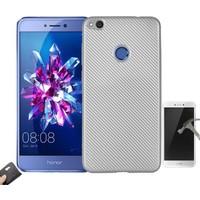 Teleplus Huawei P9 Lite 2017 Karbon Silikon Kılıf + Kırılmaz Cam