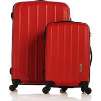 Esta Rubon - Picante Kırmızı 2'Li Valiz Seti (Kabin & Büyük Boy) (%100 PP)