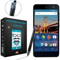 Case Man General Mobile Android One 4G Kırılmaz Cam + Dokunmatik Stylus Kalem