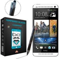 Case Man HTC One M7 Kırılmaz Cam + Dokunmatik Stylus Kalem