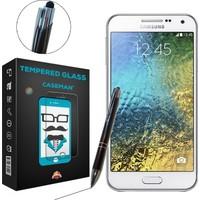 Case Man Samsung Galaxy E5 Kırılmaz Cam + Dokunmatik Stylus Kalem