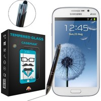 Case Man Samsung Galaxy Grand 3 Kırılmaz Cam + Dokunmatik Stylus Kalem