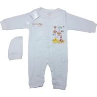 Aziz Bebe 6358 Kız Bebek Tulum Ekru 0 - 3 Ay