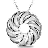 Myfavori Kolye Yuvarlak Çember Beyaz Gümüş Renk Kolye 3082