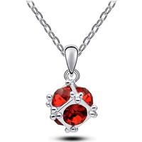 Myfavori Kolye Gümüş Kaplama Kırmızı Kristal Taş Kolye 3086