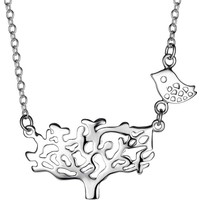 Myfavori Kolye Ağaç Kuş Gümüş Kaplama Kolye 3121 Bc