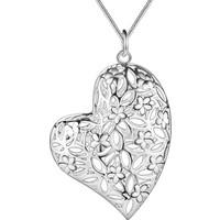 Myfavori Kolye Çiçek Motifli Gümüş Kaplama Kalp Kolye 3128 Bc