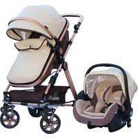 Yoyko Luxury Travel Sistem Bebek Arabası 3 in 1 Bej Rose Deri
