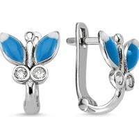 Nevinci Mavi Mineli Taşlı Kelebek Küpe