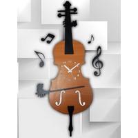 Lilium Violin Dekoratif Saat Mdf Duvar Saati (70 cm)