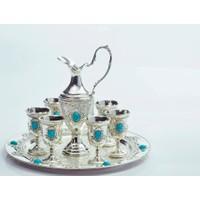 Yargıcı Porselen Gümüş Zemzem Takımı Türkuaz