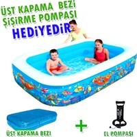 Bestway Inflatable Pool / Bestway 54121 Şişme Havuz 305 cm Boyunda / Şişirme Pompası ve Havuz Üst Kapama Bezi Hediye