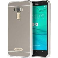 Kny Asus Zenfone 3 Max Zc520Tl Kılıf Aynalı Metal Bumper Çerçeveli+Kırılmaz Cam