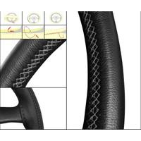 Oto Dikme Deri Direksiyon Kılıfı Siyah Mavi İp Direksiyon Çapı 37 ile 39 cm arası uyumlu