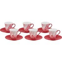Güral Porselen Onyx Serisi Bone Oscar 6 Kişilik Türk Kahvesi Takımı Kırmızı