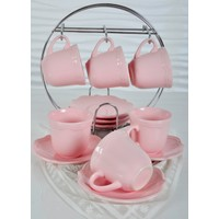 Keramika 6 Kısılık 12 Parca Açık Pembe Romeo Nescafe/Çay Takımı