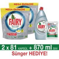 Fairy Platinum Bulaşık Makinesi Deterjanı Kapsülü Limon Kokulu 81 Yıkama 2'li Paket + Platinum Sıvı Bulaşık Deterjanı 870 ml