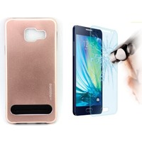 Motomo Vizyon İletişim Samsung Galaxy A3 2016 Kılıf Motomo Arka Kapak + Kırılmaz Cam