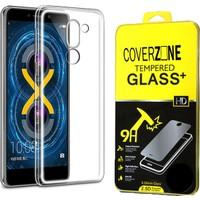 Coverzone Huawei Gr5 2017 Kılıf 0.2 Mm Silikon + Kırılmaz Cam