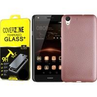 Coverzone Huawei Honor Y6 2 Karbon Silikon + Cam